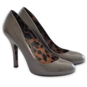 NEW Leopard-Sole Leather Pumps -Grey